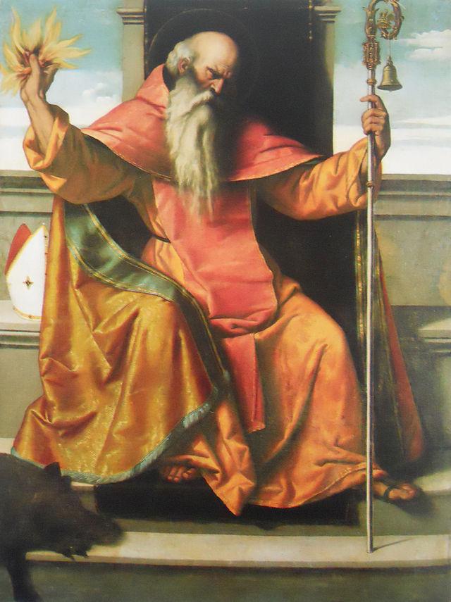 ALESSANDRO BONVICINO DETTO IL MORETTO,, Sant'Antonio Abate, 1530-1534, Olio su tela, 297×148 cm., Auro, frazione di Casto (Bs), Santuario della Madonna della Neve