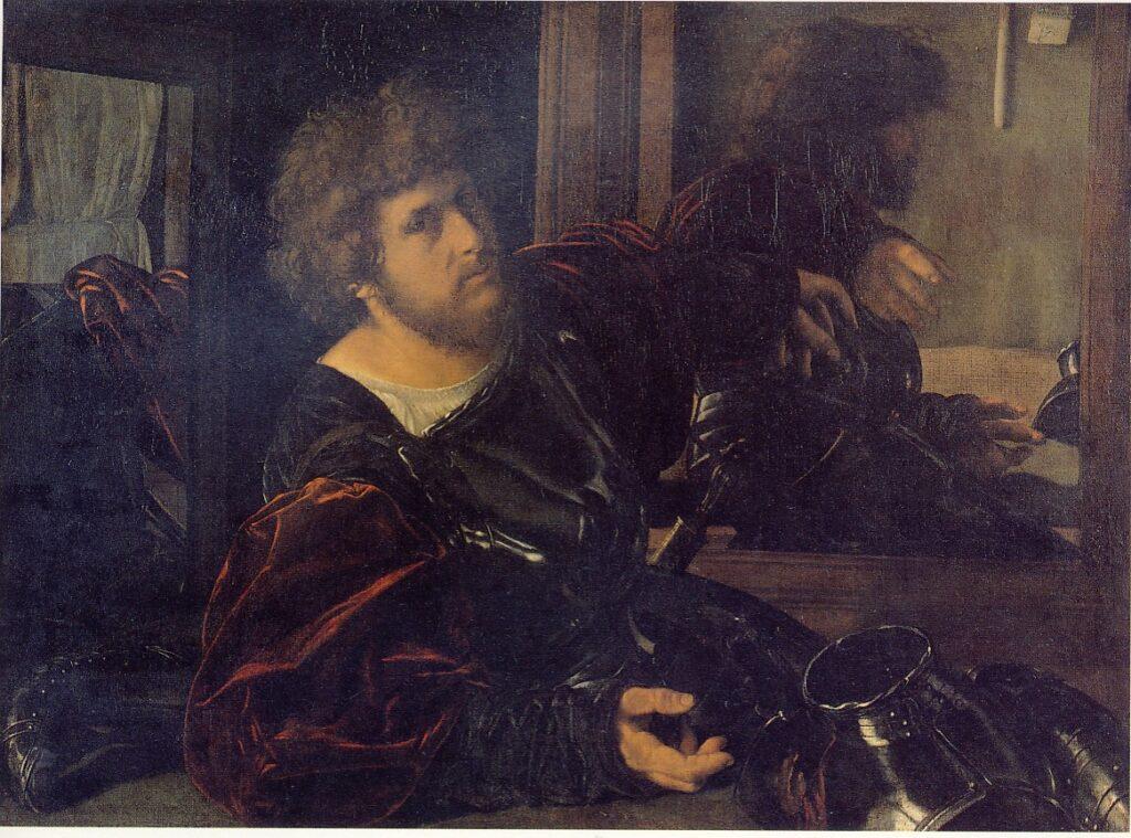GEROLAMO SAVOLDO; Ritratto di uomo con armatura (cosiddetto Gastone di Foix), 1521-1533 ca., olio su tela 91 x 133 cm, Parigi Museo del Louvre
