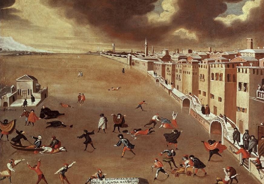 Il dipinto di Gabriele Bella testimonia visivamente la ghiacciata del gennaio 1709 che colpì la laguna, unendo Venezia in un'unica lastra