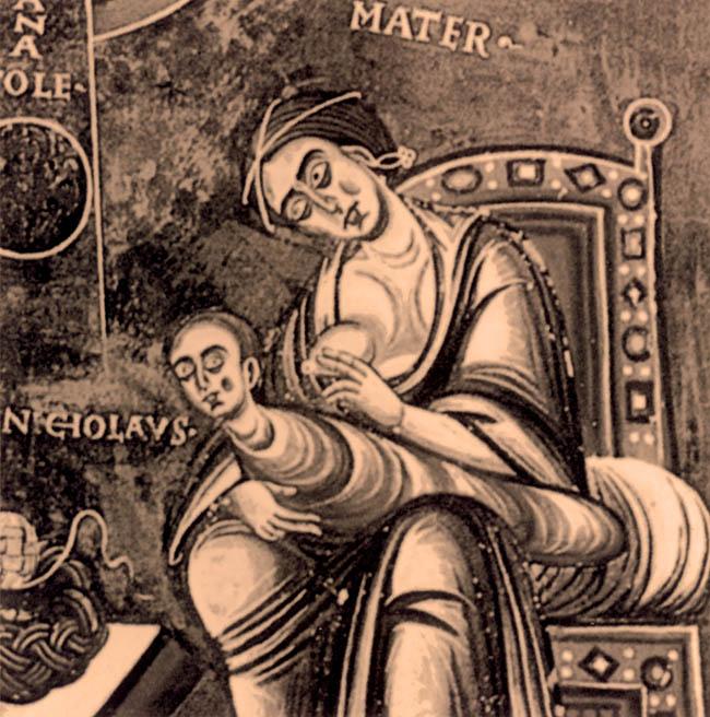San Nicola rifiuta il seno materno. Cappella di San Eldrado nell'abbazia di Novalesa in Val di Susa