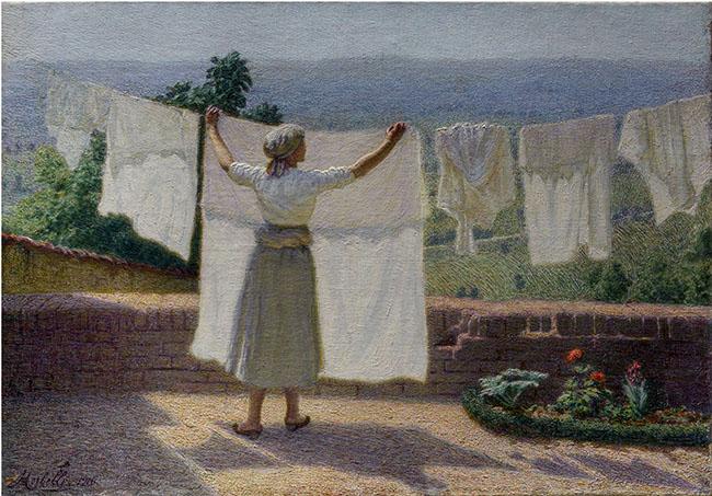 Angelo Morbelli, Distendendo panni al sole, olio su tela 43,5 x 62 cm