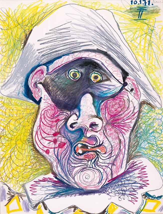 Pablo Picasso Testa di arlecchino II matita e pastello, cm 50,2 x 65,2 Johannesburg Art Gallery, Johannesburg