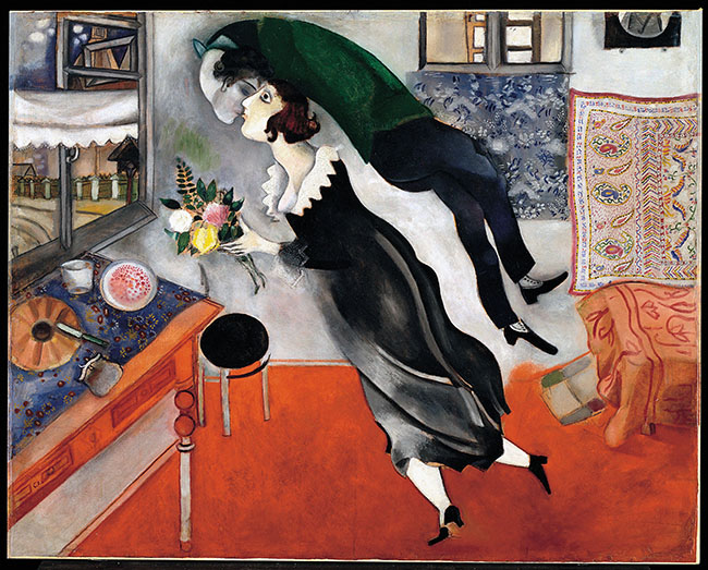 Marc Chagall Il compleanno 1915, olio su cartone The Museum of Modern Art, New York. Acquired through the Lillie P. Bliss Bequest, 1949 © 2014. Digital image, The Museum of Modern Art, New York/Scala, Firenze © Chagall ®,