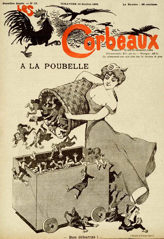 """Didier Dubucq (alias Ashavérus): A la poubelle, 1905 Rivista """"Les Corbeaux"""", n. 29, 15 ottobre 1905"""