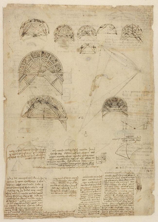 ARCHITETTURA f. 537 r Disegni di centine e armature (BA) Penna e inchiostro su carta mm 340 x 240 Antica numerazione 20 C.A. f. 537 recto (ex. 200 recto-a) Circa 1515