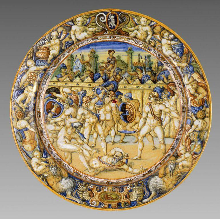 Bottega di Orazio Fontana (sec XVI)  Piatto con combattimento di gladiatori maiolica invetriata,  6,2 x 46 cm © Galleria Estense, Modena