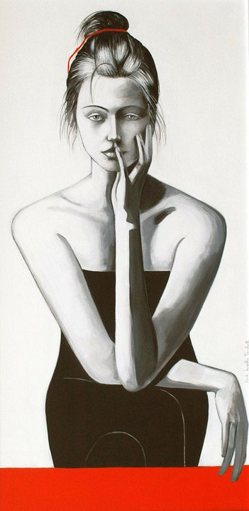Lorella Facchetti, Elettra, 2006, olio e grafite su tela, cm. 50 x 100