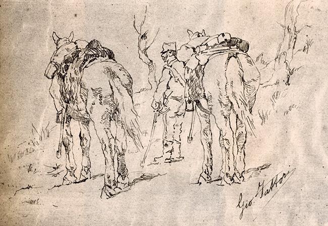 Fattori, Soldato con due cavalli, Tocco di penna 20,3x 27,2