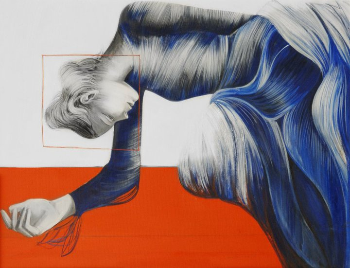 Lorella Facchetti, Figura in blu, 2006, olio su tela, cm. 90 x 70