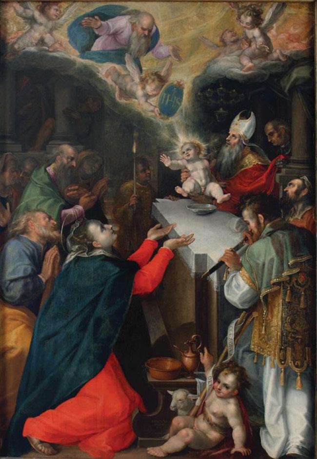 . Filippo Bellini, Circoncisione di Gesù (già per la Cappella del Nome di Gesù). An. 1592, olio su tela, cm. 212h x 143 (245h x 175, con cornice). Loreto, Museo-Antico Tesoro della Santa Casa.