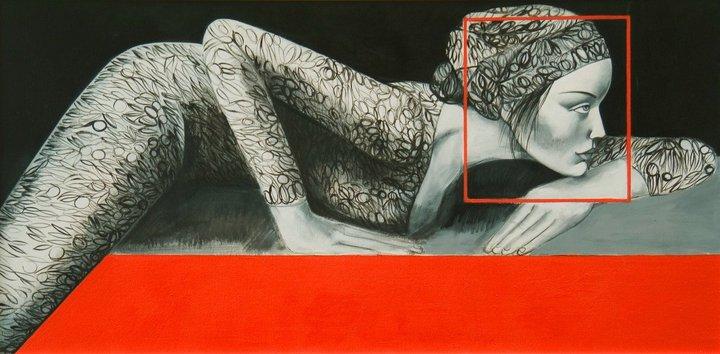 Lorella Facchetti, Introspezione, 2006, olio su tela, cm. 100 x 50