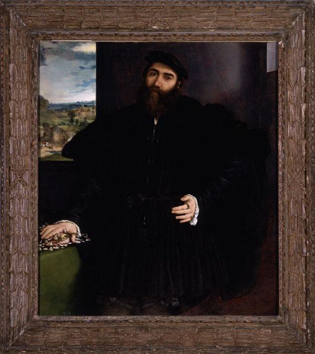 Lorenzo Lotto, Ritratto di Gentiluomo. Olio su tela, Inv. 185, An. 1535 ca., Cm. 118 x 105 (cm 142 x 129 con cornice). Roma, Galleria Borghese.