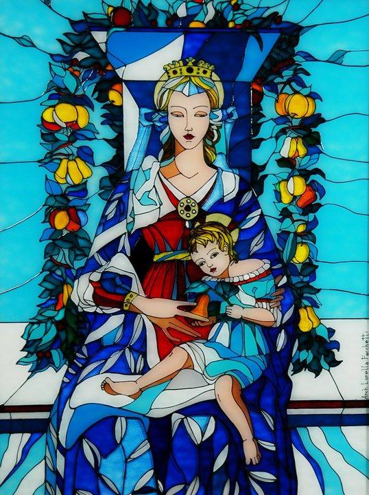 Lorella Facchetti, Madonna con Bambino da Carlo.Crivelli, 2000, vetro arte cm. 50 x 70