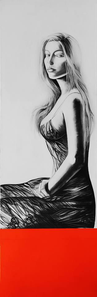Lorella Facchetti, Moana, 2008, olio su tela, .cm. 50 x 150