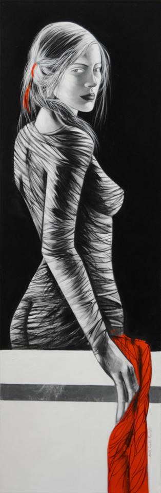 Lorella Facchetti, Ofelia, 2014,olio su tela, cm. 50 x 150