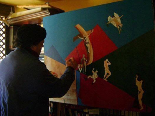 """Francesco Ascione detto """"Pennelletto"""",Sacra Romana Chiesa, 2005,80x100 cm,olio su tela"""