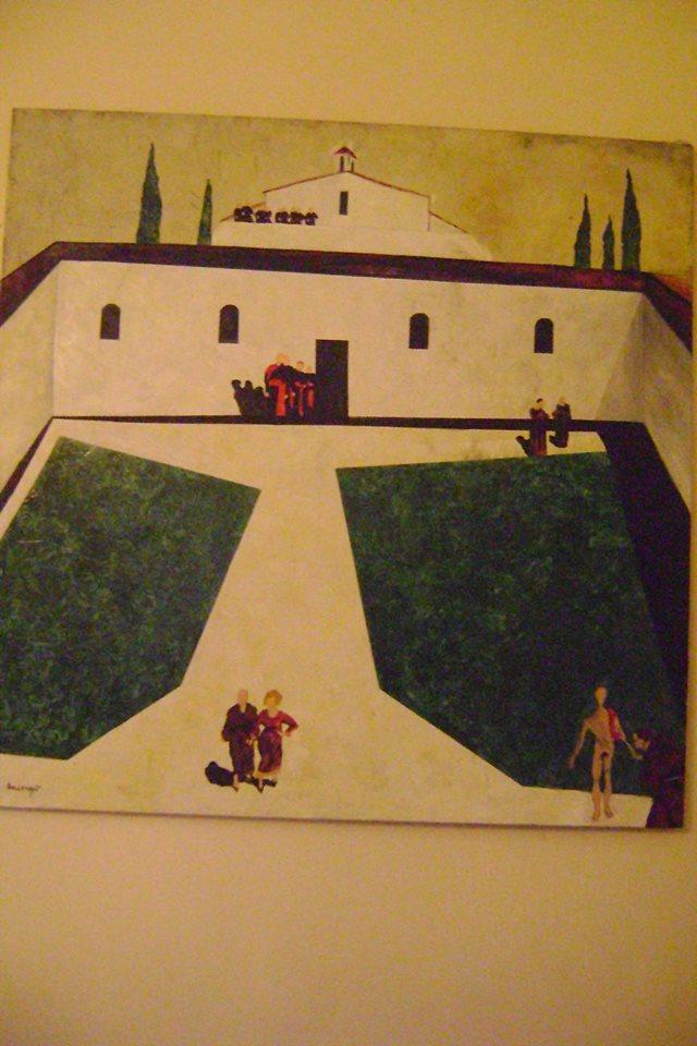"""Francesco Ascione detto""""pennelletto"""",Chiesa Grassa e senza pensieri, 2000, 100x120 cm, olio su tela"""