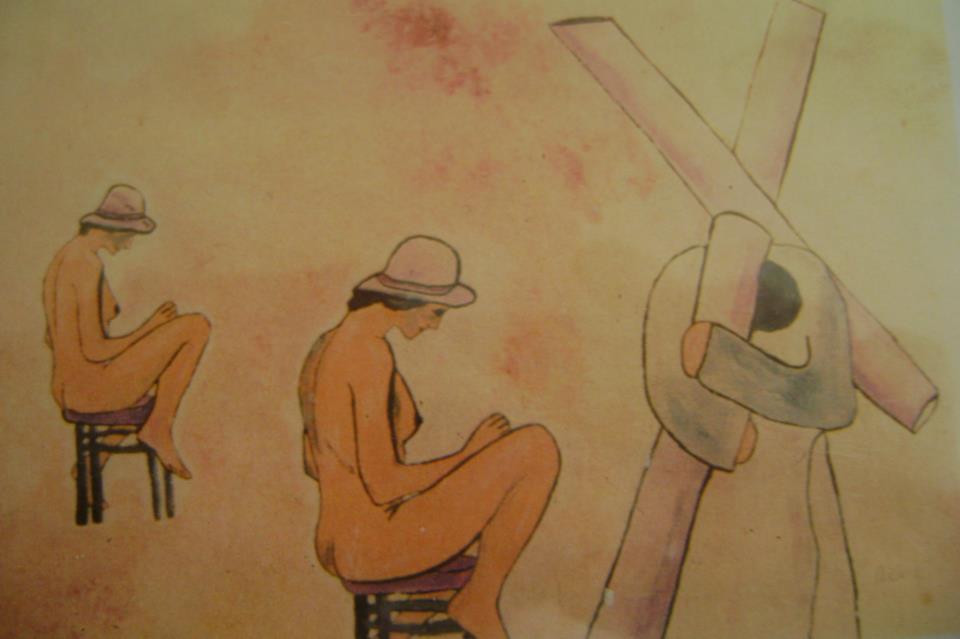 """Francesco Ascione detto """"Pennelletto"""", Andros e Plasma,1982, 40 x50 cm, olio su tela"""
