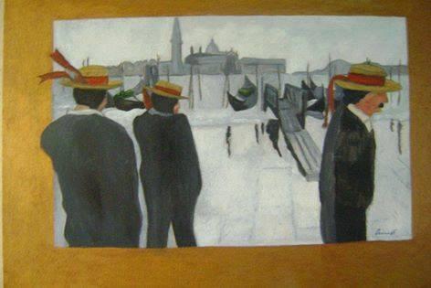 """Francesco Ascione detto  """"pennelletto"""", Gondolieri incazzati per la pioggia,1998, 40x50 cm olio su tavola - Vincitore del Premio Internazionale Pescetti a Firenze edizione 1998"""