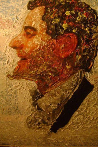 """Francesco Ascione detto """"pennelletto"""", Ritratto di Giacomino il piccolo diavolo, 2014, 30x40 cm, olio su tavola"""