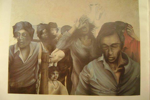"""Francesco Ascione detto """"pennelletto"""", Migranti, 2011, 70x100 cm, olio su tela"""