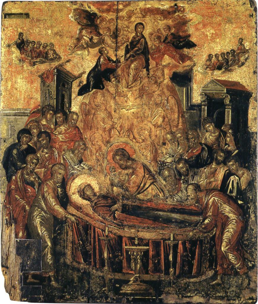 El Greco, Dormitio Virginis, 1567, Cattedrale, Ermopoli. Questo era il linguaggio bizantino di El Greco, che comunque conosceva e praticava, già a Creta, la pittura latina. La fusione di culture produsse, grazie a un intenso apporto personale dell'artista, un nuovo modo di vedere la realtà, che divenne punto di riferimento per le grandi svolte dell'arte novecentesca, a partire da Picasso