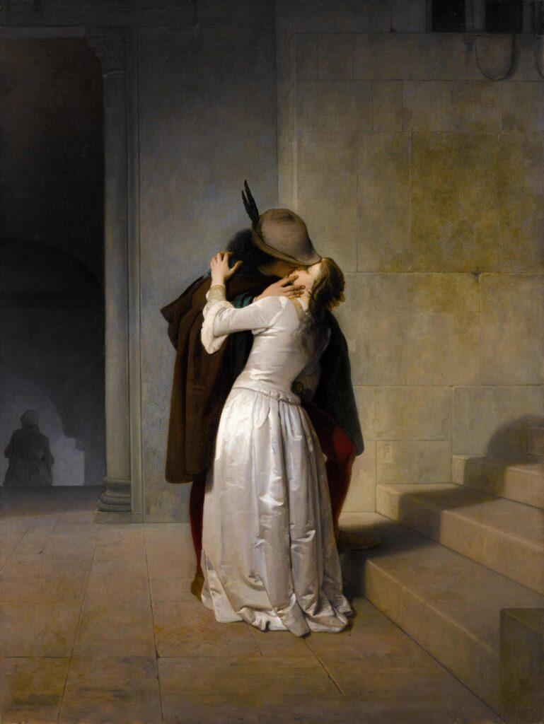 FRANCESCO HAYEZ, Il bacio, 1861,olio su tela, 125x94,5 cm., firmato Fran Hayez Veneziano / FECE 1861 d 'anni 70 in basso a sinistra, collezione privata.
