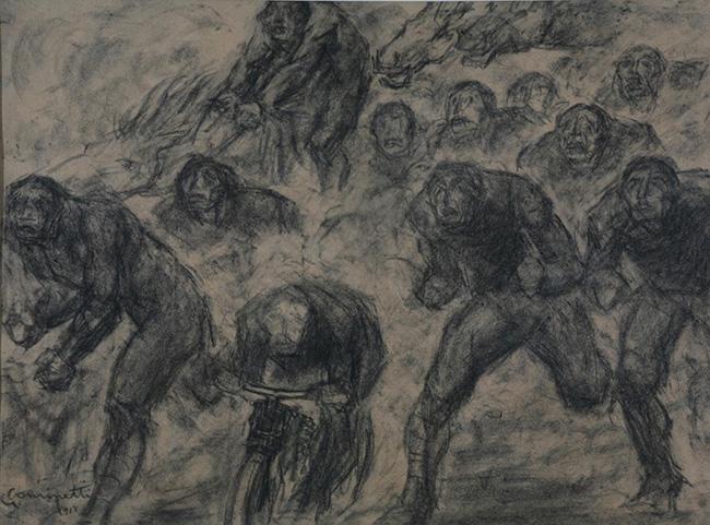 Giuseppe Cominetti: Ritirata, 1918, 48 x 65, carboncino