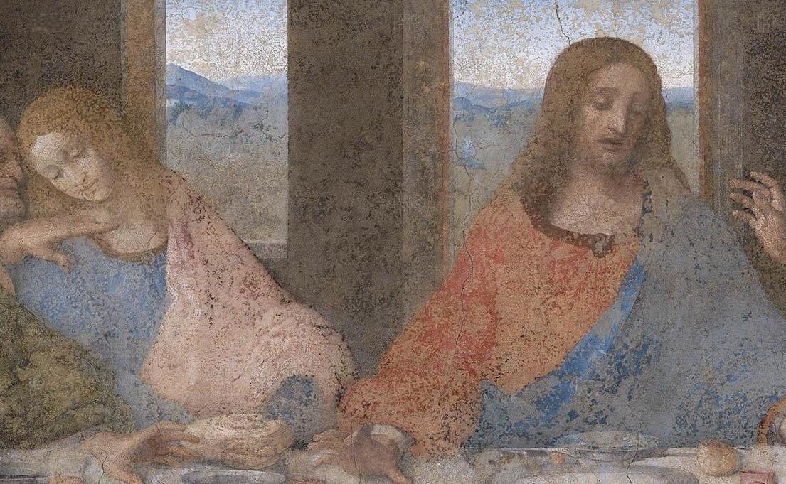 Un particolare del Cenacolo di Leonardo da Vinci. Alla destra di Cristo, San Giovanni evangelista che appare con i tratti dell'efebo. L'apostolo prediletto da Cristo era il più giovane del gruppo. Così i pittori lo distinsero dagli altri discepoli rappresentandolo come un adolescente. La mancata presenza di caratteri sessuali maschili ha suscitato l'ipotesi che San Giovanni fosse la Maddalena, anche se la figura dell'apostolo appare associata, nelle Deposizioni a quella di Maria e di Maddalena