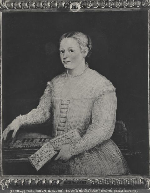 Il presunto autoritratto di Marietta Robusti, in una vecchia immagine in bianco e nero. L'opera è conservata agli Uffizi e oggi è quella che ha la maggior convergenza di attribuzione da parte degli studiosi