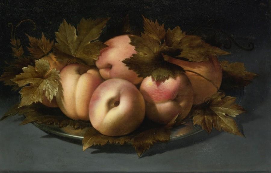 PANFILO NUVOLONE, Natura morta di pesche e foglie di vite su piatto di peltro, olio su tavola, 22X30,7 cm, collezione privata