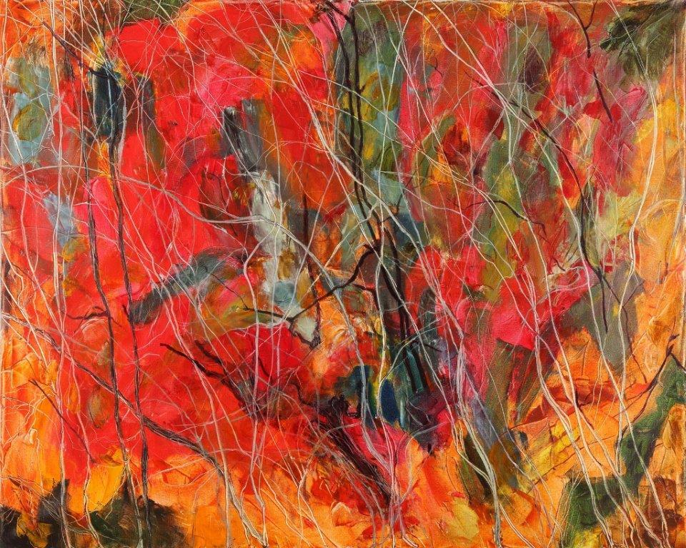 rosso a occidente olio su tela 100 x 80
