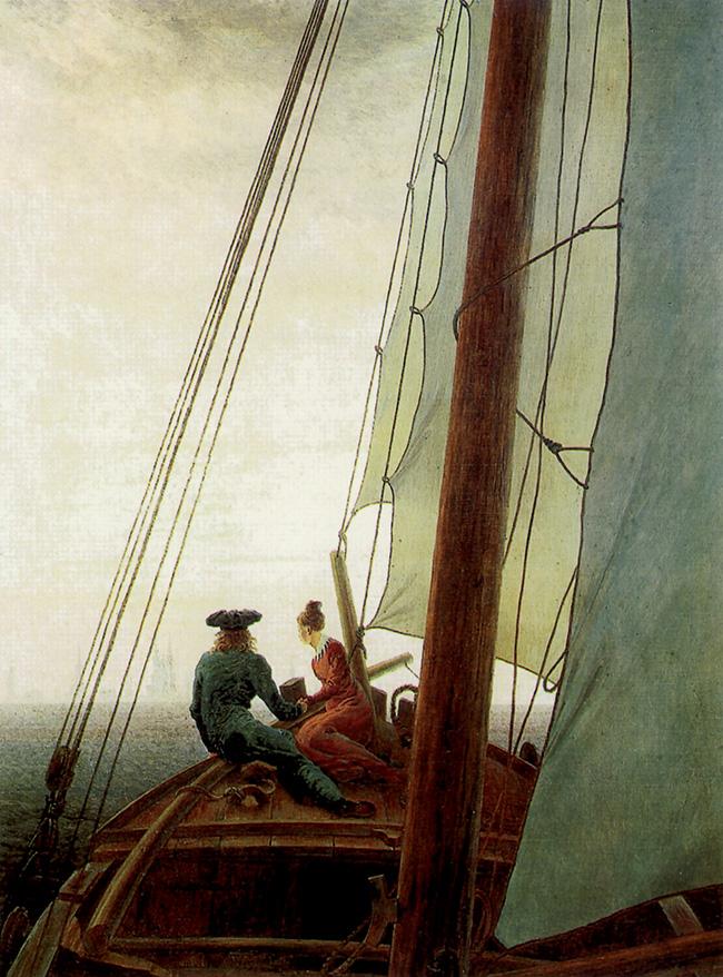 Caspar David Friedrich, Sul veliero, olio su tela, 71x56 cm, 1818