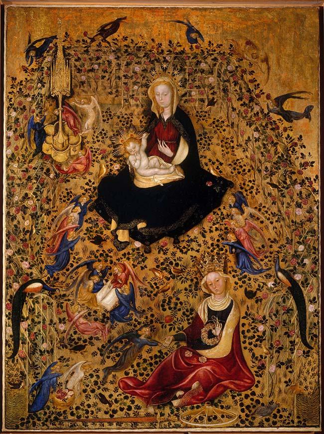 Michelino da Besozzo (doc. 1388-1450), attr.: Madonna del roseto (Madonna of the Rose Garden). Verona, Museo di Castelvecchio
