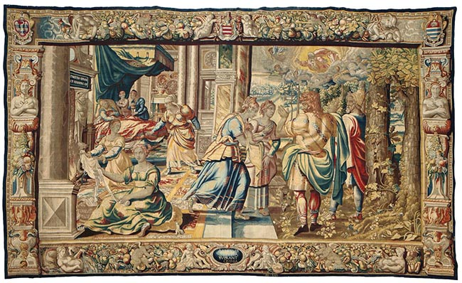 Storie di Sansone (nascita di Sansone) , arazzo, 1600 circa, manifattura Jan Raes in Bruxelles
