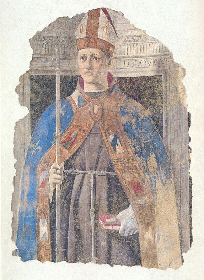 PIERO DELLA FRANCESCA: San Ludovico do Tolosa, 1460 affresco staccato, 123 x 90 cm Museo Civico di San Sepolcro, San Sepolcro, Arezzo