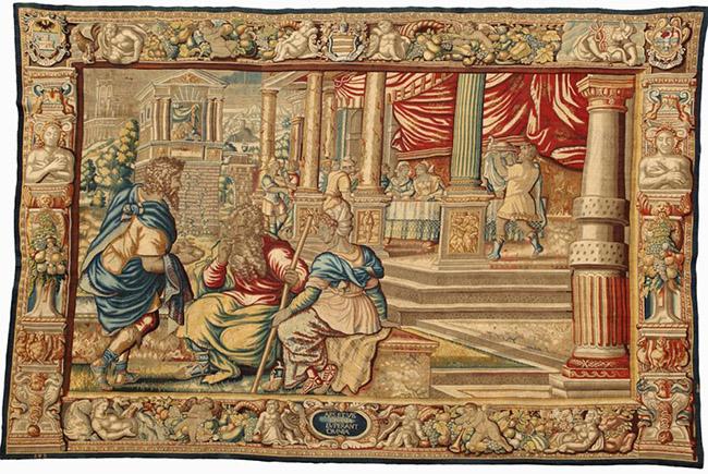 Storie di Sansone (Sansone offre ai genitori il favo di miele), arazzo, 1600 circa, manifattura Jan Raes in Bruxelles