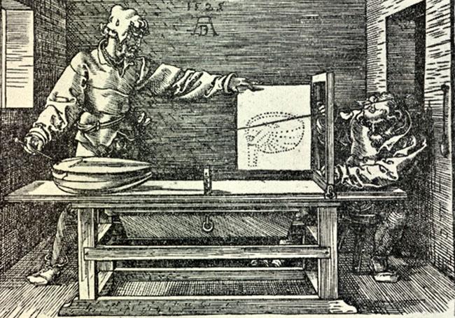 ALBRECHT DURER: Lo sportello, 1525 ca, xilografia, 132x185 mm, Gabinetto disegni e stampe degli Uffizi, Firenze