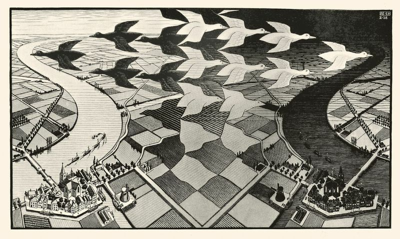 Maurits Cornelis Escher Giorno e notte / Day and Night, 1938 Xilografia, 39,10x67,70 cm M.C. Escher Foundation All M.C. Escher works © 2015 The M.C. Escher Company. All rights reserved www.mcescher.com
