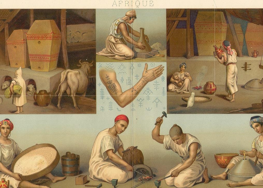 A. Racinet, Le costume historique. Due tavole del libro dedicate ai costumi africani