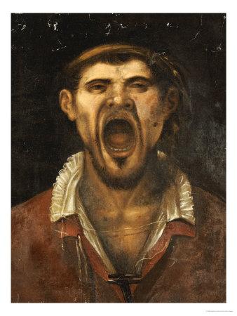 """Agostino Carracci (attribuito, Contadino che grida. L'opera rientra in una ricerca delle forme espressive che fu praticata tra la fine del Quattrocento e il Seicento. Il contadino, come dimostrano i suoi occhi sembra gridare per chiamare qualcuno lontano o per """"alzare la voce"""". Nella suo volto non c'è disperazione"""