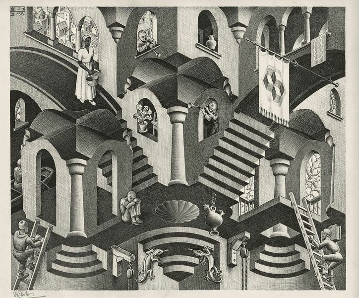 Maurits Cornelis Escher Concavo e convesso / Convex and Concave, 1955 Xilografia, 27,50x33,50 cm Collezione Giudiceandrea Federico All M.C. Escher works © 2015 The M.C. Escher Company. All rights reserved www.mcescher.com