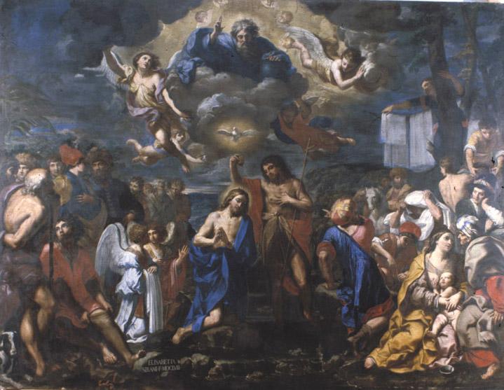 ELISABETTA SIRANI, Il Battesimo di Cristo, 1658, olio su tela, cm.450 x 350 ca., Certosa di Bologna, Chiesa di San Girolamo www.storiaememoriadibologna.it