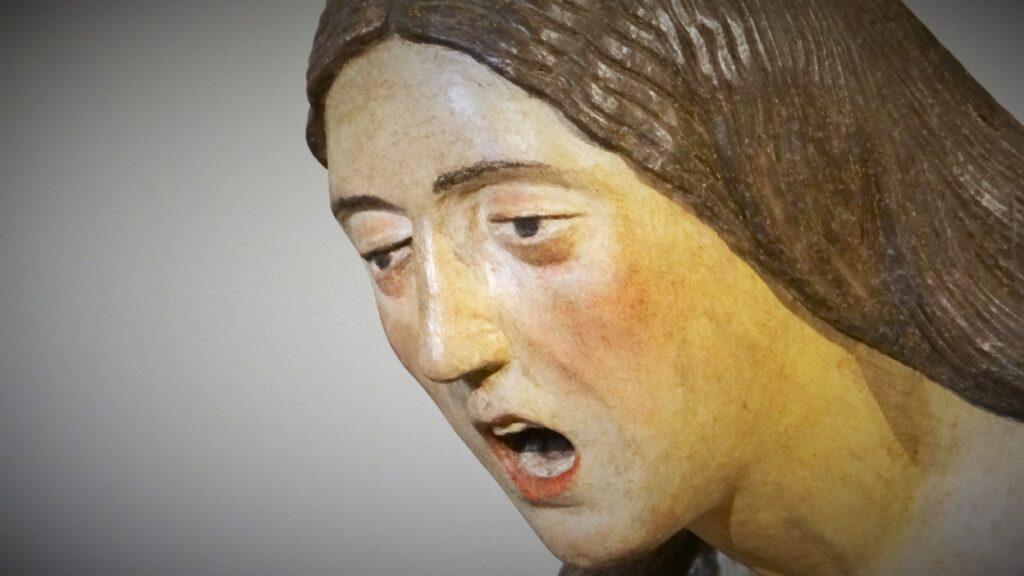 Clemente Zamara, Compianto sul Cristo morto (particolare, Maddalena), 1520-1530, legno intagliato, Bagnolo Mella, Santuario e Disciplina di Santa Maria della Stella