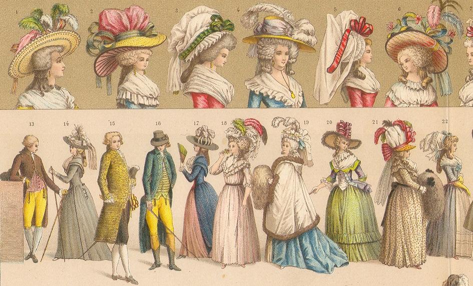 A. Racinet, Le costume historique. Una delle pagine dedicate agli abiti francesi del XVIII secolo