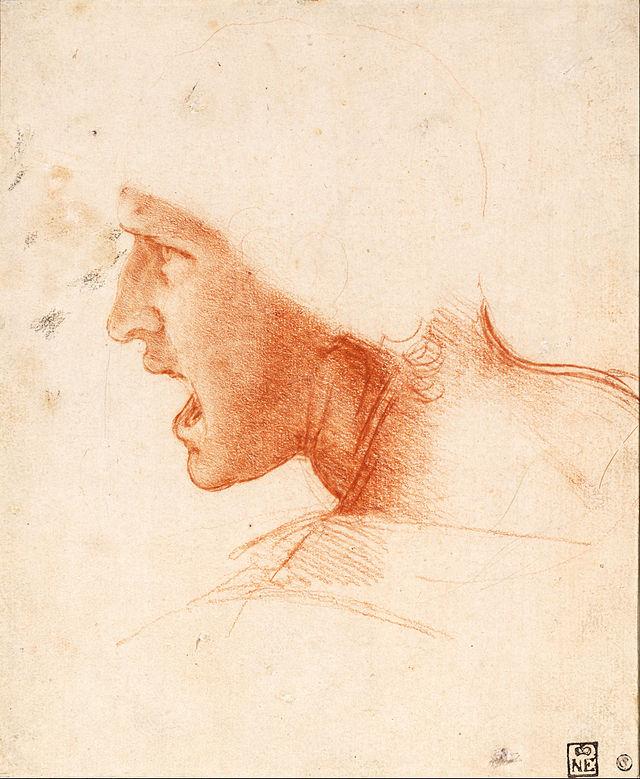 Leonardo da Vinci, Studio per la battaglia d'Anghiari. L'artista rappresenta un giovane uomo che chiama o che grida, in un atteggiamento attivo, come durante un attacco armato