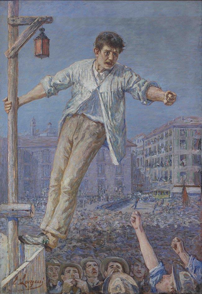 Emilio Longoni: L'oratore dello sciopero,1891, olio su tela, 193x134