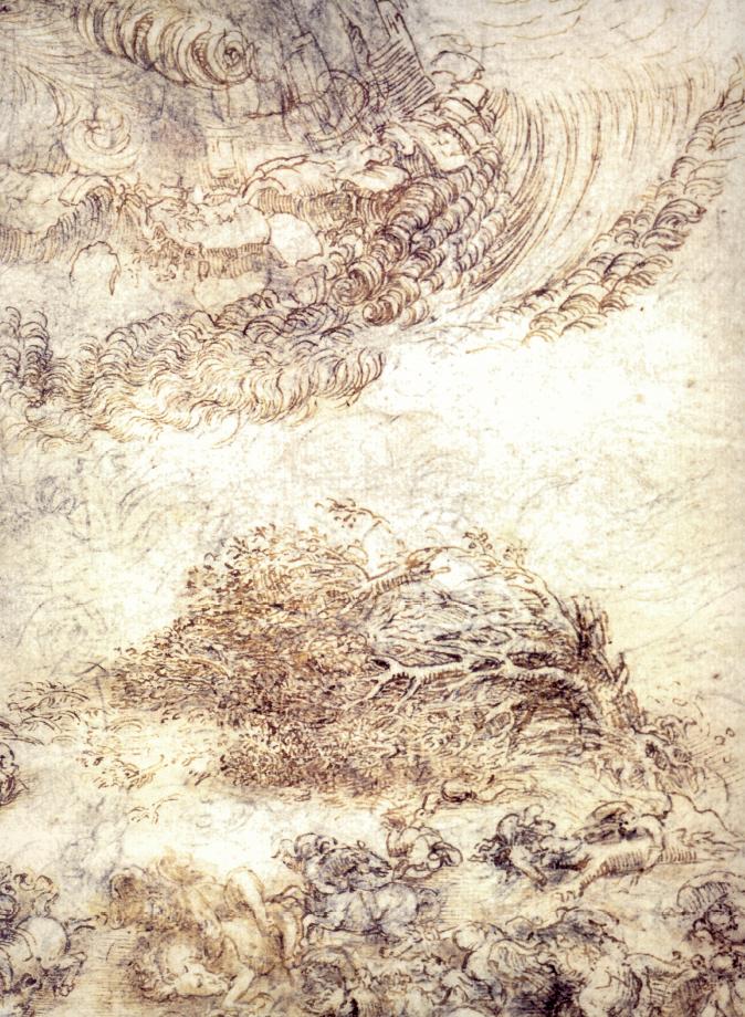 Uragano con enormi getti d'acqua che travolge cavalieri e alberi