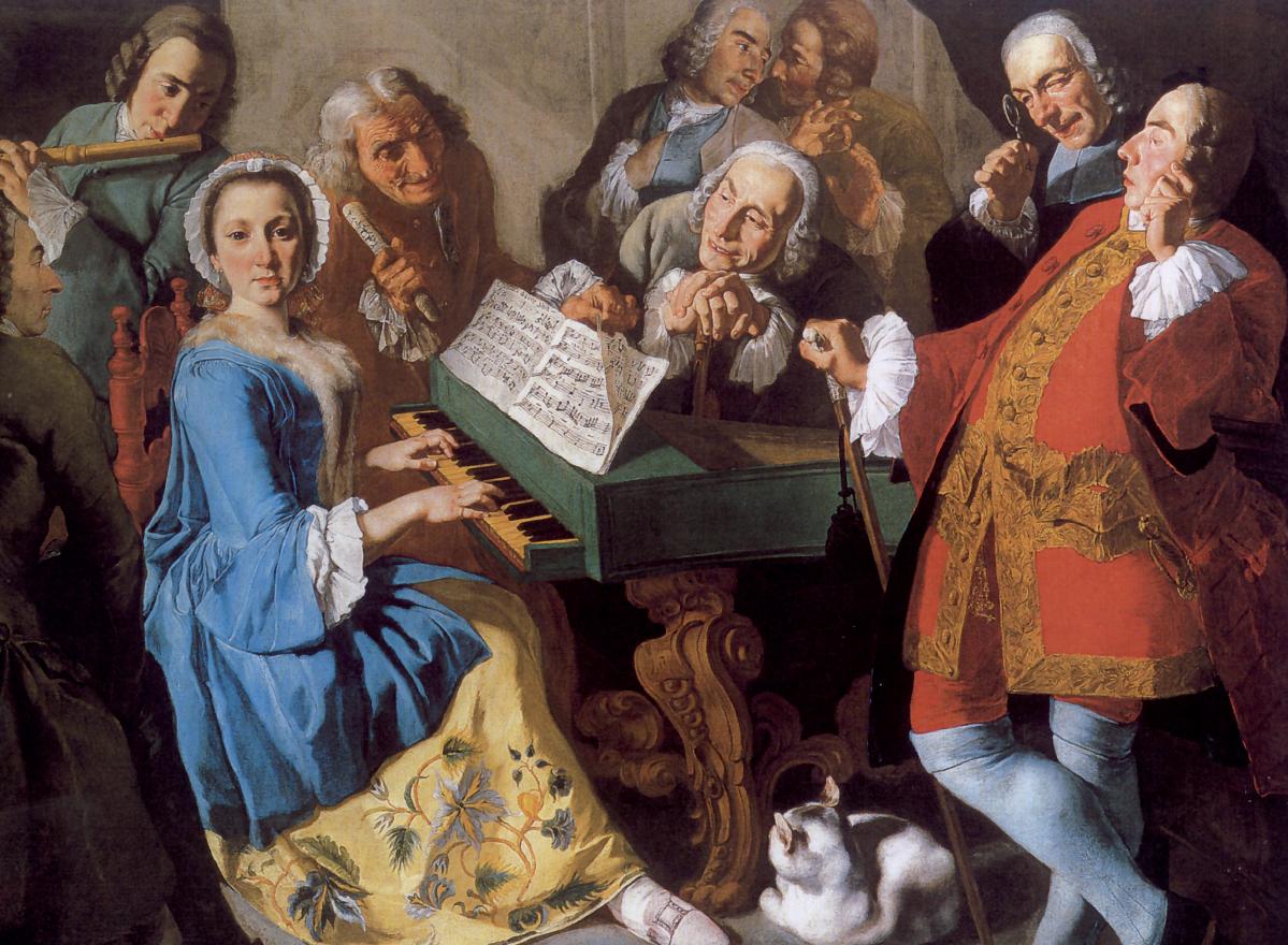 Gaspare Traversi, La lezione di musica.  La figura in primo piano a destra ritrarrebbe il compositore Nicola Antonio Porpora, autore della Ballata a voce sola di cui è rappresentato nel quadro lo spartito. Il colore dell'abito alluderebbe quindi al nome del musicista. Il flauto traverso a sinistra sarebbe invece la firma figurata del pittore