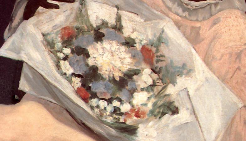 particolare dell'Olympia di Manet. Nel mazzo un fiore candido che potrebbe alludere a una grande camelia